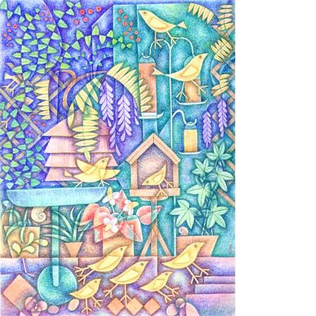 Gardenwithyellowbirds450x450